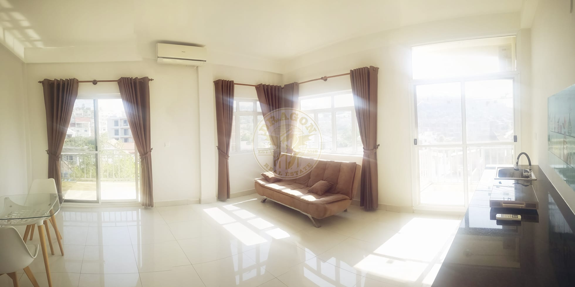 Apartment w/ Two balconies for Rent. Sihanoukville Monthly Rental